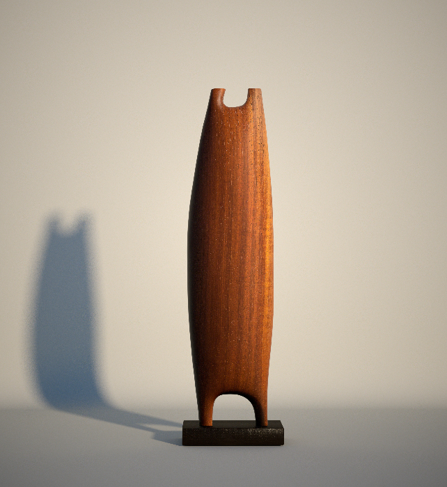 """Origin of the fish rays. 1/20 Series"". Padouk and ebony wood"