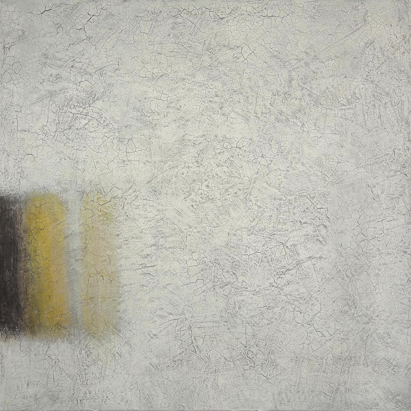 Still Life The Grey and Yellow on White 2014 80 x 80 cm